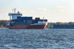 Red container ship Stock Photography
