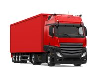 Red Container Truck Isolated. On white background. 3D render royalty free stock image