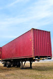 Red container on truck trailer Royalty Free Stock Photos