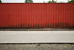 Red Container Van on a Street Stock Photography