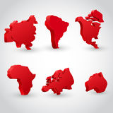 Red continent set. 3d red continent map set. Vector illustration Royalty Free Stock Photography