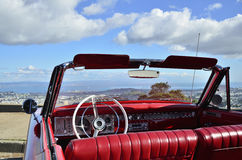 Red convertible car. Parked red convertible with a view through the windscreen Stock Photography