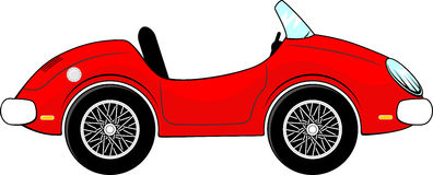 Red convertible car cartoon. Funny red convertible car cartoon isolated on white background stock illustration