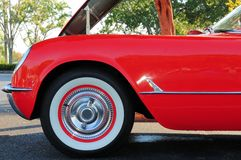 Red convertible front left side Royalty Free Stock Image