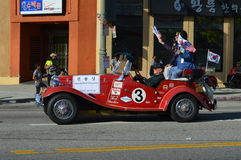 Red Convertible Los Angeles Korea Festival Parade 2015. Red classic convertible  Los Angeles Korean Festival Royalty Free Stock Photography