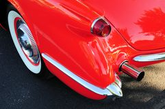 Red convertible rear left side Stock Photo
