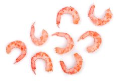 Red cooked prawn or shrimp  on white background. Top view. Flat lay.  Stock Photography