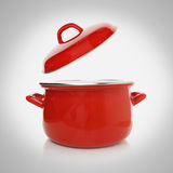 Red cooking pot Royalty Free Stock Photos