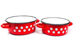 Red cooking pot with dots isolated Stock Images