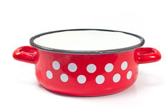 Red cooking pot with dots isolated Stock Photos