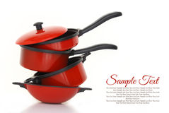 Red cookware set. On white background royalty free stock photos