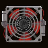 Red cooling system fan behind gray metal grille. On black background Stock Photos