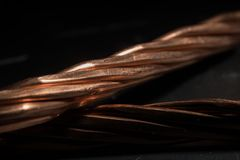 Red copper wire industry development Royalty Free Stock Photography