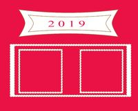 Red copy space and number 2019 year for note stock illustration