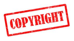 Red copyright stamp on white background Royalty Free Stock Images
