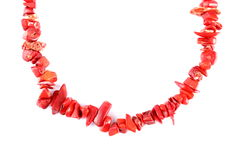 Red coral beads Stock Photo