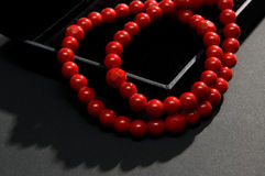 Red coral beads Stock Image