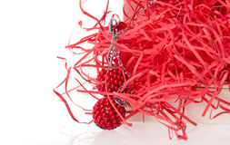 Red coral beads earrings Stock Images