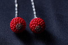 Red coral beads earrings Royalty Free Stock Images