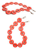 Red Coral and Copper Gemstone Jewelry. Handmade red coral and copper gemstone necklaces  on white Royalty Free Stock Image