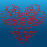 Red coral heart on a dark blue background Stock Image