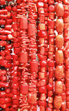 Red corals. The collection of necklace from the red corals Stock Photos