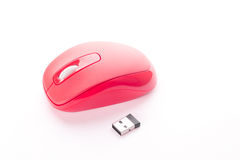 Red cordless mouse for PC Royalty Free Stock Photography