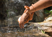 Red corn snake wrap around hand Stock Image