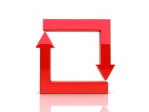 Red corner arrows in cycle Stock Images