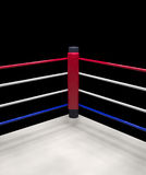Red corner boxing ring background 3d render. Close up of the red corner boxing ring surrounded by ropes isolated on dark background with clipping path Stock Image