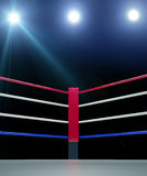 Red corner boxing ring background 3d render. Close up of the red corner boxing ring surrounded by ropes isolated on dark background with clipping path Royalty Free Stock Photography
