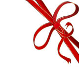Red corner ribbon. Christmas red corner ribbon with golden stripes Stock Image