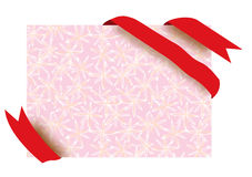 Red corner ribbon and flower pattern paper Stock Photo