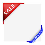 Red corner ribbon with sale sign and fifty percen Stock Photo