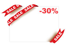 Red corner ribbon with sale sign and thirty percen. T discount on white background Stock Image