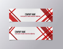 Red corporate banner identity template. Geometric lines company business banner vector. Stock Photo