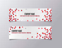 Red corporate banner identity template. Geometric triangles company business banner vector. Stock Photography