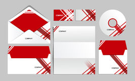 Red corporate lines identity template. Vector company style for brandbook and guideline. Stock Photography