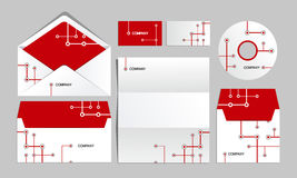 Red corporate metro identity template. Vector company style for brandbook and guideline. Stock Images