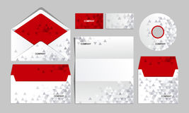 RED corporate origami identity template. Vector company style for brandbook and guideline Royalty Free Stock Photo