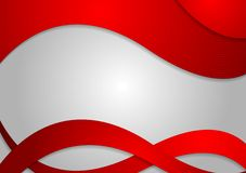 Red corporate waves on grey background Stock Images
