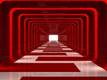 Red corridor. Inside red corridor walking to exit Royalty Free Stock Photos