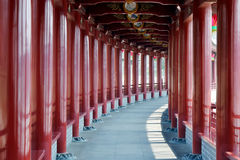 Red corridor. Of Asia traditional architecture style Stock Photo