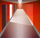 Red Corridor and doors. Light at the end. The  from the doorway. Fixtures. There is an exit. Output Options. Red Corridor and doors. Light at the end. The light Stock Photo