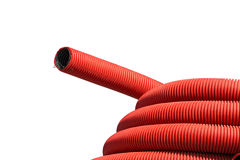 Red corrugated hose Royalty Free Stock Image