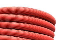 Red corrugated hose Stock Images