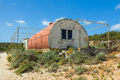 Red corrugated iron hut Stock Photos