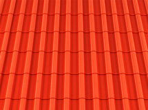 Red corrugated tile element of roof. Royalty Free Stock Photo