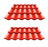 Red corrugated tile element of roof Royalty Free Stock Image
