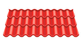 Red Corrugated Tile Vector. Element Of Roof. Ceramic Tiles. Fragment Of Roof Illustration. stock illustration